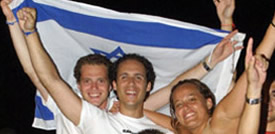 happy young adults with israel flag